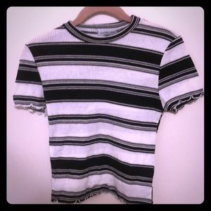 Women's black & white small striped T-shirt